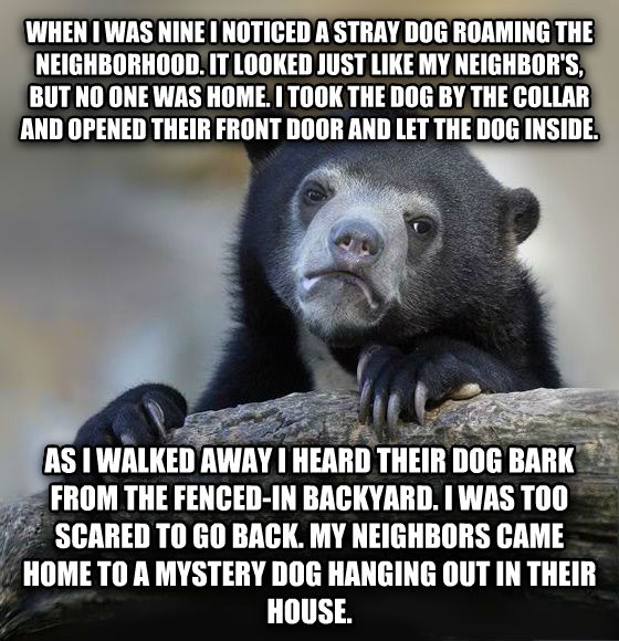 Confession Bear when i was nine i noticed a stray dog roaming the neighborhood. it looked just like my neighbor s, but no one was home. i took the dog by the collar and opened their front door and let the dog inside. as i walked away i heard their dog bark from the fenced-in backyard. i was too scared to go back. my neighbors came home to a mystery dog hanging out in their house. , made with livememe meme creator