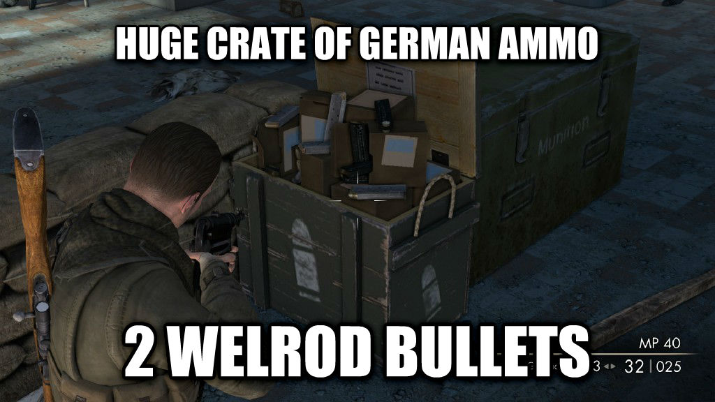 Sniper Elite V2 logic huge crate of german ammo 2 welrod bullets , made with livememe meme maker