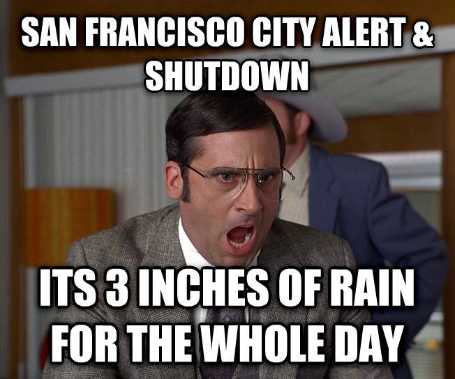I Don t Know What We re Yelling About san francisco city alert & shutdown its 3 inches of rain for the whole day , made with livememe meme creator