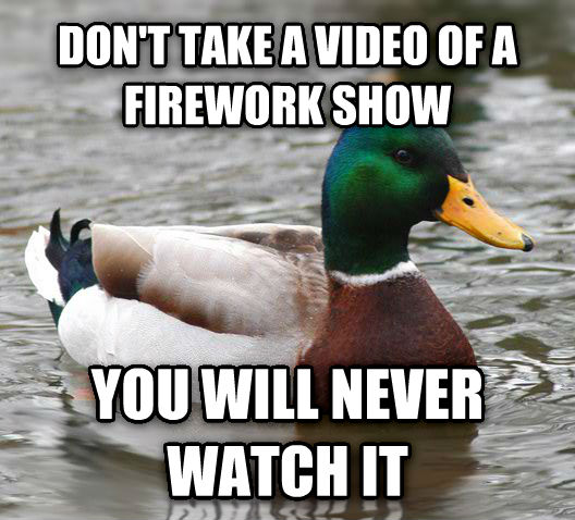 Actual Advice Mallard don t take a video of a firework show you will never watch it  , made with livememe meme maker