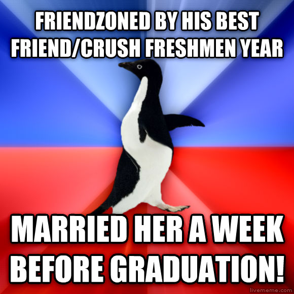 Socially Awkward Awesome Penguin friendzoned by his best friend/crush freshmen year married her a week before graduation!  , made with livememe meme creator