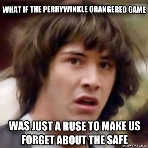 Conspiracy Keanu what if the perrywinkle orangered game was just a ruse to make us forget about the safe , made with livememe meme generator