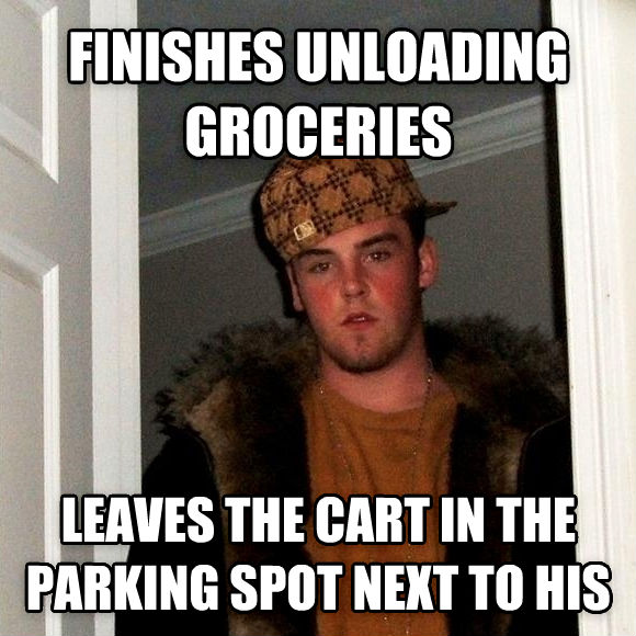 Scumbag Steve finishes unloading groceries leaves the cart in the parking spot next to his , made with livememe meme generator