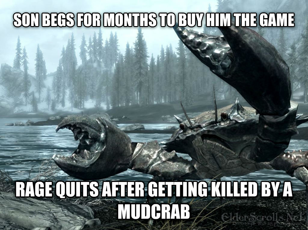 untitled meme son begs for months to buy him the game rage quits after getting killed by a mudcrab , made with livememe meme generator