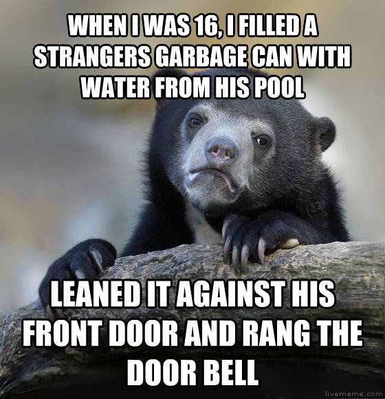 Confession Bear when i was 16, i filled a strangers garbage can with water from his pool leaned it against his front door and rang the door bell , made with livememe meme creator