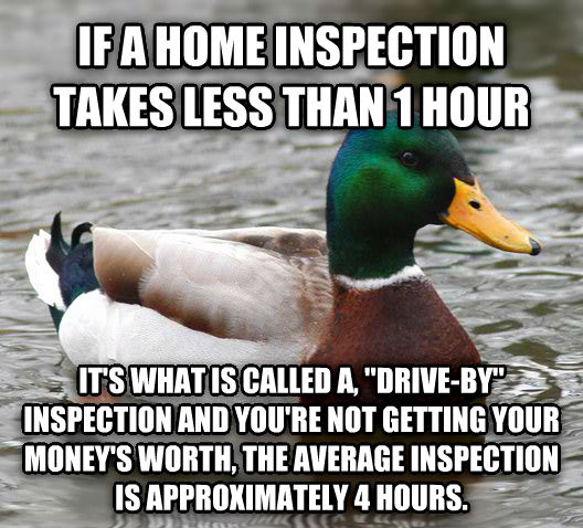 Actual Advice Mallard if a home inspection takes less than 1 hour it s what is called a,  drive-by  inspection and you re not getting your money s worth, the average inspection is approximately 4 hours. , made with livememe meme maker