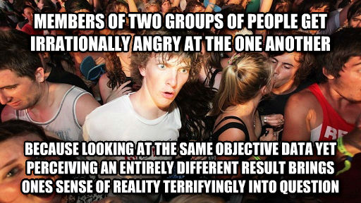 Sudden Clarity Clarence members of two groups of people get irrationally angry at the one another  because looking at the same objective data yet perceiving an entirely different result brings ones sense of reality terrifyingly into question , made with livememe meme maker