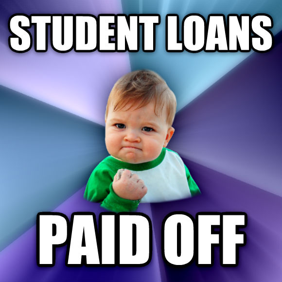Success Kid student loans paid off  , made with livememe meme creator