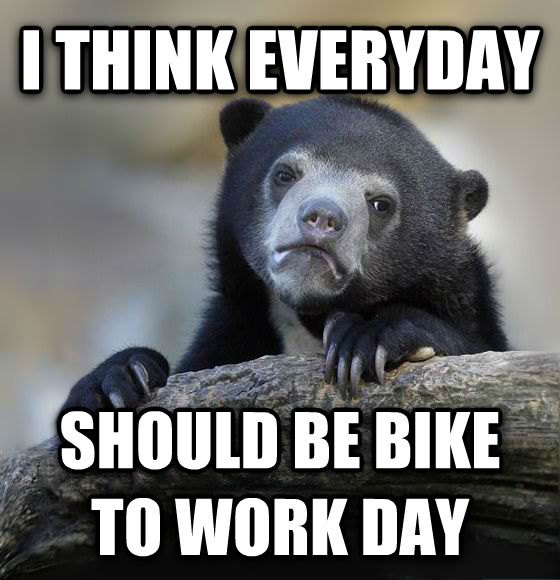 Confession Bear i think everyday should be bike to work day , made with livememe meme creator