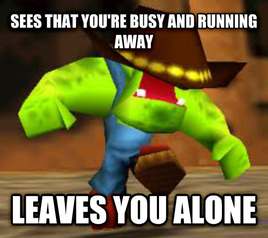 Good Guy Bad Guy sees that you re busy and running away leaves you alone , made with livememe meme maker