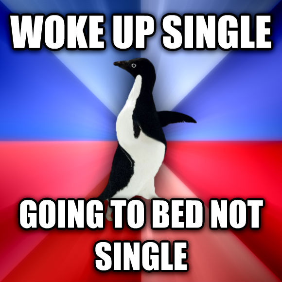 Socially Awkward Awesome Penguin woke up single going to bed not single  , made with livememe meme creator