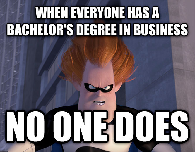 Syndrome - When Everyone s Super, No One Is when everyone has a bachelor s degree in business no one does , made with livememe meme creator