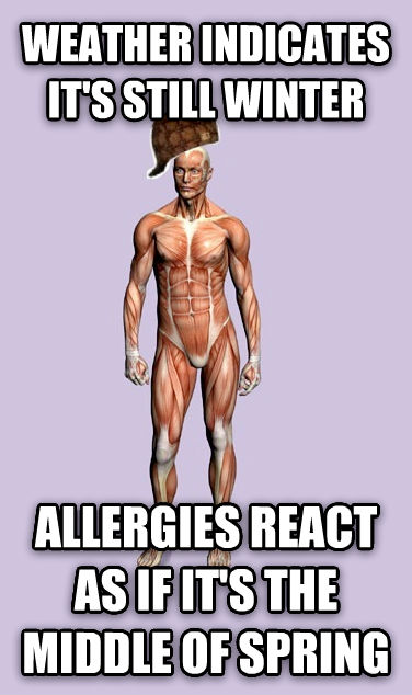 Scumbag Body weather indicates it s still winter allergies react as if it s the middle of spring , made with livememe meme maker