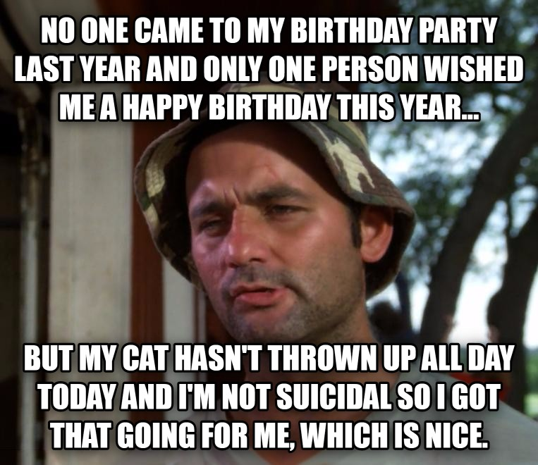 Bill Murray - So I Got That Going For Me, Which is Nice no one came to my birthday party last year and only one person wished me a happy birthday this year... but my cat hasn t thrown up all day today and i m not suicidal so i got that going for me, which is nice. , made with livememe meme generator