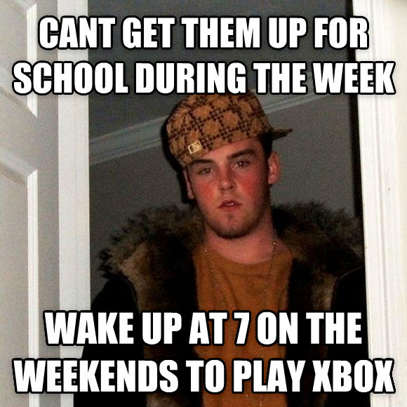 Scumbag Steve cant get them up for school during the week wake up at 7 on the weekends to play xbox , made with livememe meme generator