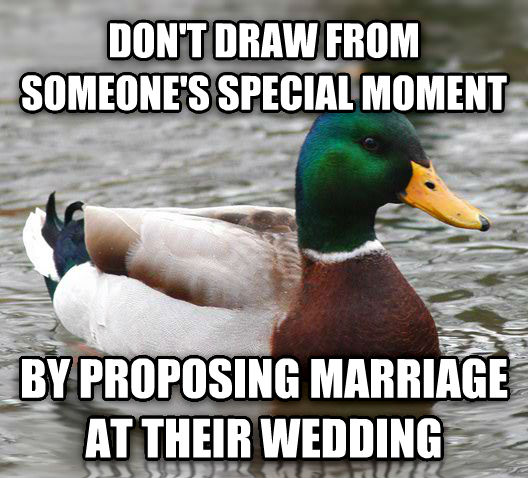 Actual Advice Mallard don t draw from someone s special moment by proposing marriage at their wedding , made with livememe meme creator