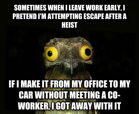 Weird Stuff I Do Potoo sometimes when i leave work early, i pretend i m attempting escape after a heist if i make it from my office to my car without meeting a co-worker, i got away with it , made with livememe meme maker