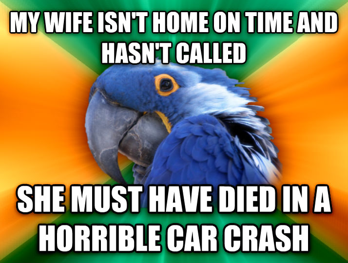 Paranoid Parrot my wife isn t home on time and hasn t called she must have died in a horrible car crash  , made with livememe meme creator
