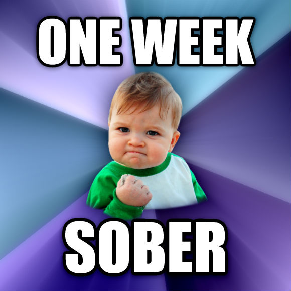 Success Kid one week sober  , made with livememe meme creator