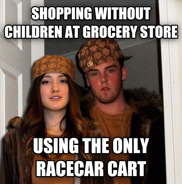 Scumbag Couple shopping without children at grocery store using the only racecar cart , made with livememe meme maker