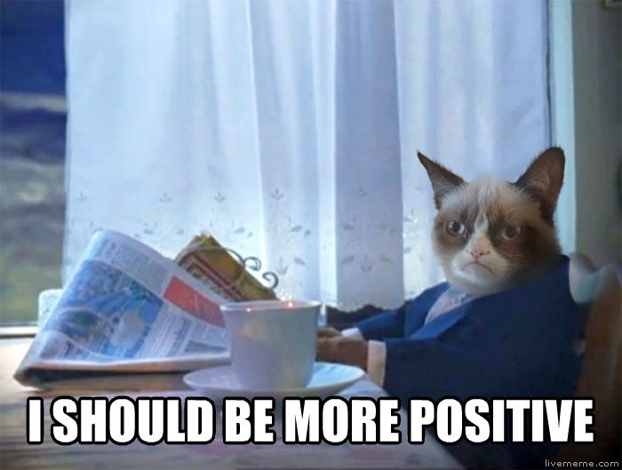 Introspective Grumpy Cat  i should be more positive , made with livememe meme generator