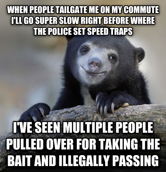 Happy Confession Bear when people tailgate me on my commute i ll go super slow right before where the police set speed traps i ve seen multiple people pulled over for taking the bait and illegally passing , made with livememe meme creator