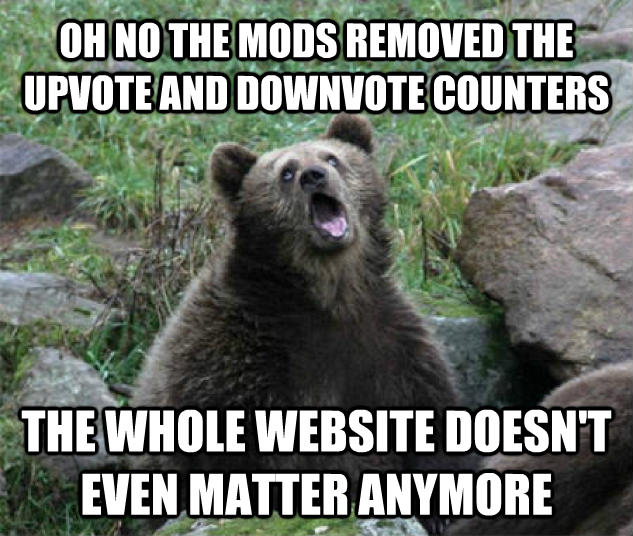 Sarcastic Bear oh no the mods removed the upvote and downvote counters the whole website doesn t even matter anymore , made with livememe meme maker