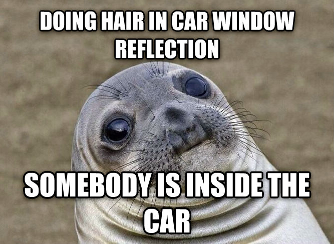 Uncomfortable Situation Seal doing hair in car window reflection somebody is inside the car , made with livememe meme creator