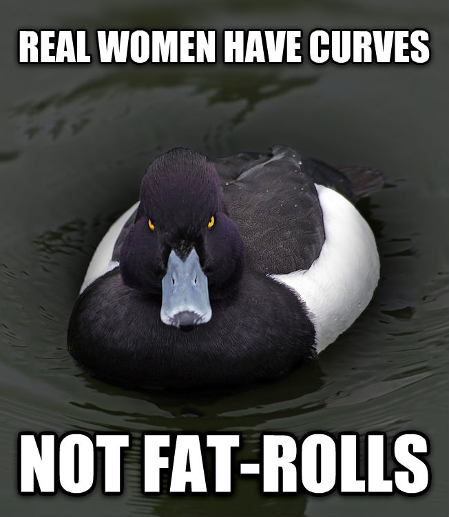 Angry Advice Mallard real women have curves not fat-rolls , made with livememe meme creator