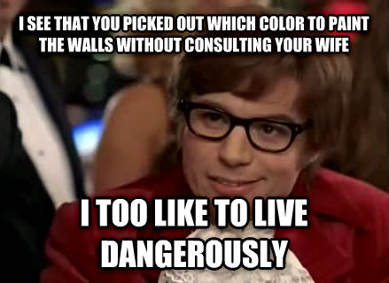 Live Dangerously - Austin Powers i see that you picked out which color to paint the walls without consulting your wife i too like to live dangerously , made with livememe meme generator