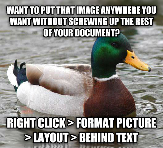 Actual Advice Mallard want to put that image anywhere you want without twirling up the rest of your docoment? right click   format picture   layout   behind text , made with livememe meme generator