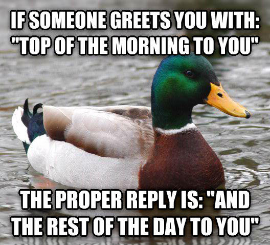 Actual Advice Mallard if someone greets you with:  top of the morning to you  the proper reply is:  and the rest of the day to you  , made with livememe meme creator