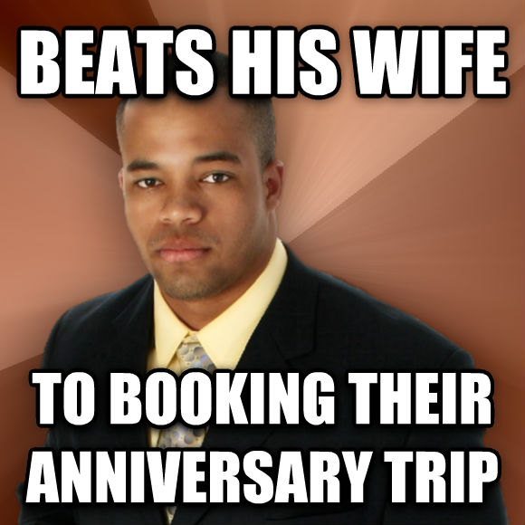 Successful Black Man beats his wife to booking their anniversary trip   , made with livememe meme maker