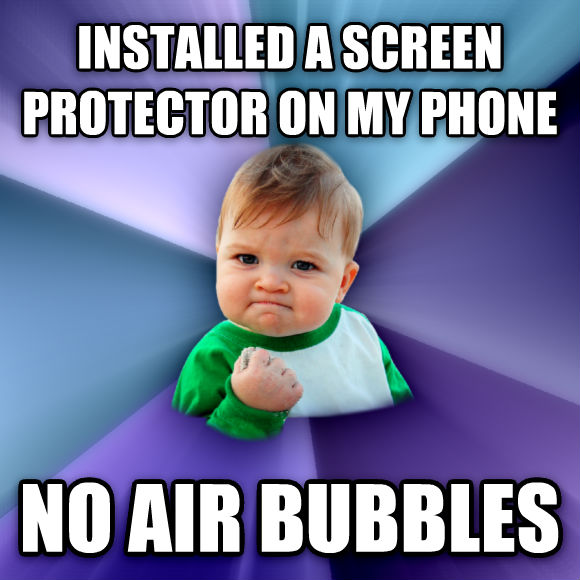 Success Kid installed a screen protector on my phone no air bubbles  , made with livememe meme creator