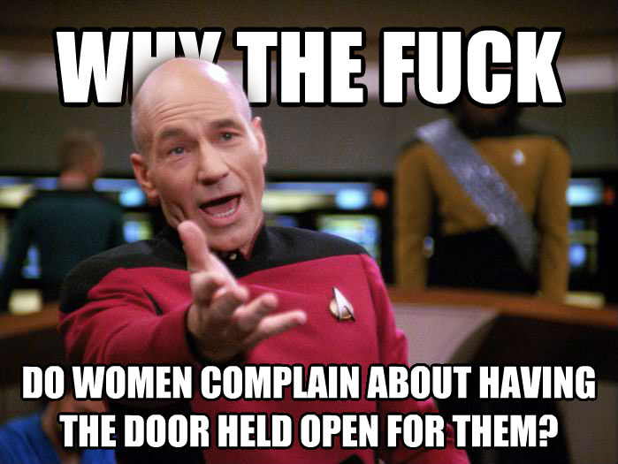 Annoyed Picard 1080p why the heck do women complain about having the door held open for them? , made with livememe meme generator