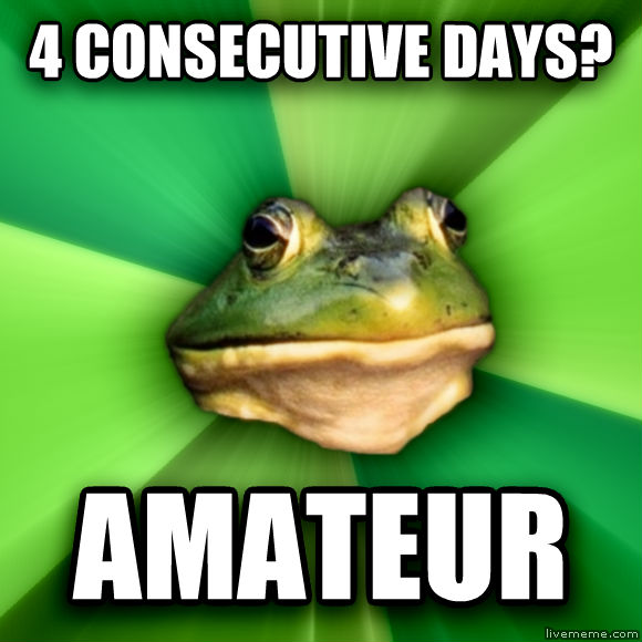 Foul Bachelor Frog 4 consecutive days? amateur  , made with livememe meme generator