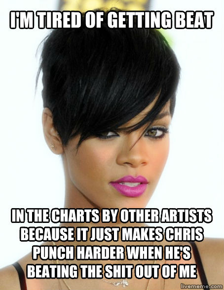 Abuse Victim Rihanna i m tired of getting beat in the charts by other artists because it just makes chris punch harder when he s beating the chocolate out of me , made with livememe meme maker