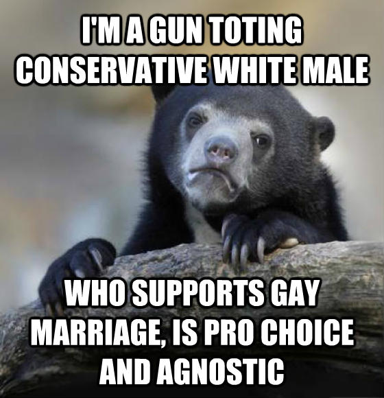 Confession Bear i m a gun toting conservative white male who supports sweet marriage, is pro choice and agnostic , made with livememe meme generator