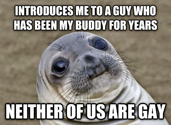 Uncomfortable Situation Seal introduces me to a guy who has been my buddy for years neither of us are sweet  , made with livememe meme creator