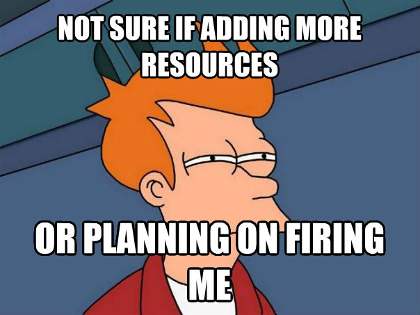 Futurama Fry not sure if adding more resources or planning on firing me , made with livememe meme maker