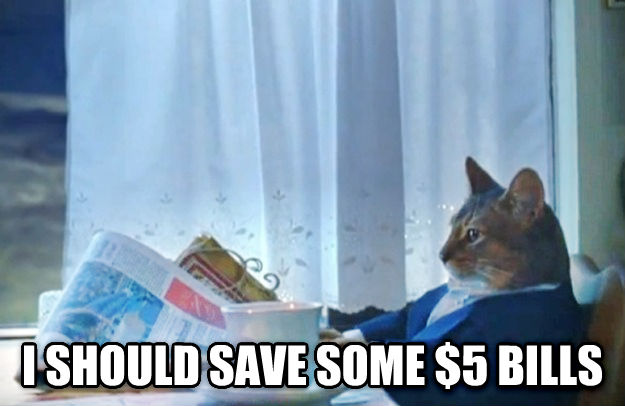 Sophisticated Cat  i should save some $5 bills , made with livememe meme creator