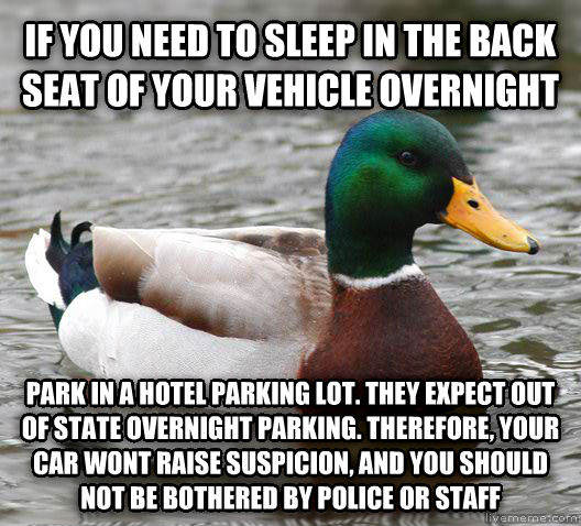 Actual Advice Mallard if you need to sleep in the back seat of your vehicle overnight park in a hotel parking lot. they expect out of state overnight parking. therefore, your car wont raise suspicion, and you should not be bothered by police or staff , made with livememe meme creator