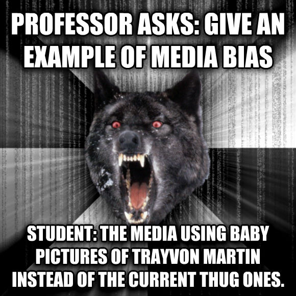 Insanity Wolf professor asks: give an example of media bias student: the media using baby pictures of trayvon martin instead of the current thug ones.   , made with livememe meme maker