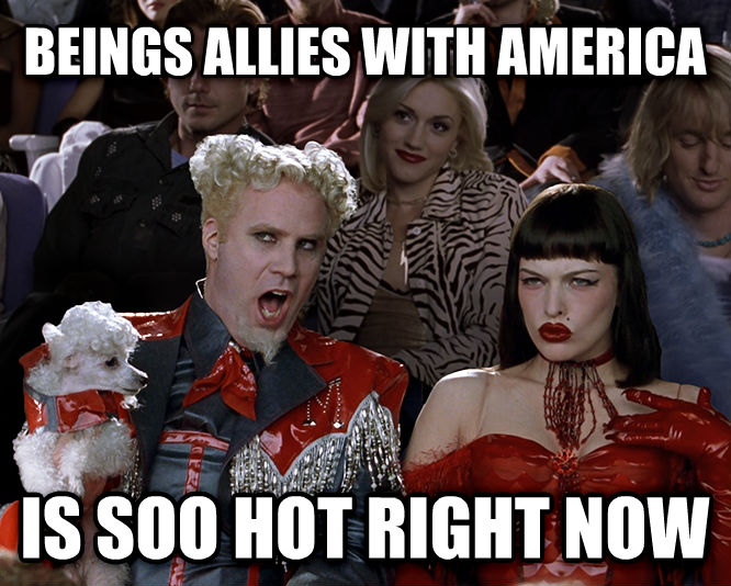 Mugatu - That Is So Hot Right Now beings allies with america is soo hot right now , made with livememe meme creator