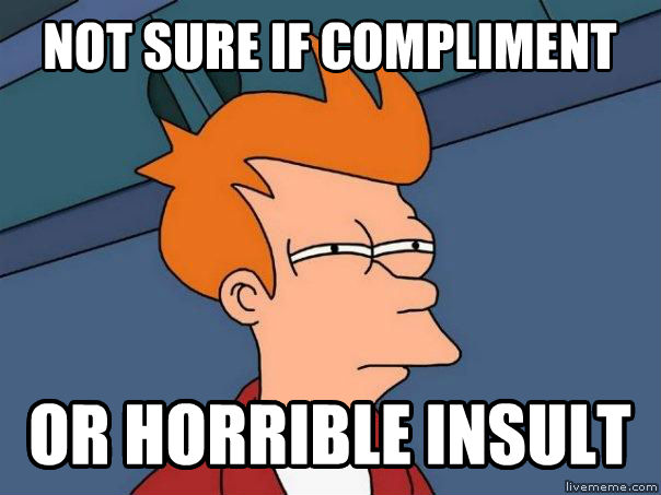 Futurama Fry not sure if compliment or horrible insult , made with livememe meme generator
