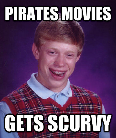 Bad Luck Brian pirates movies gets scurvy , made with livememe meme generator