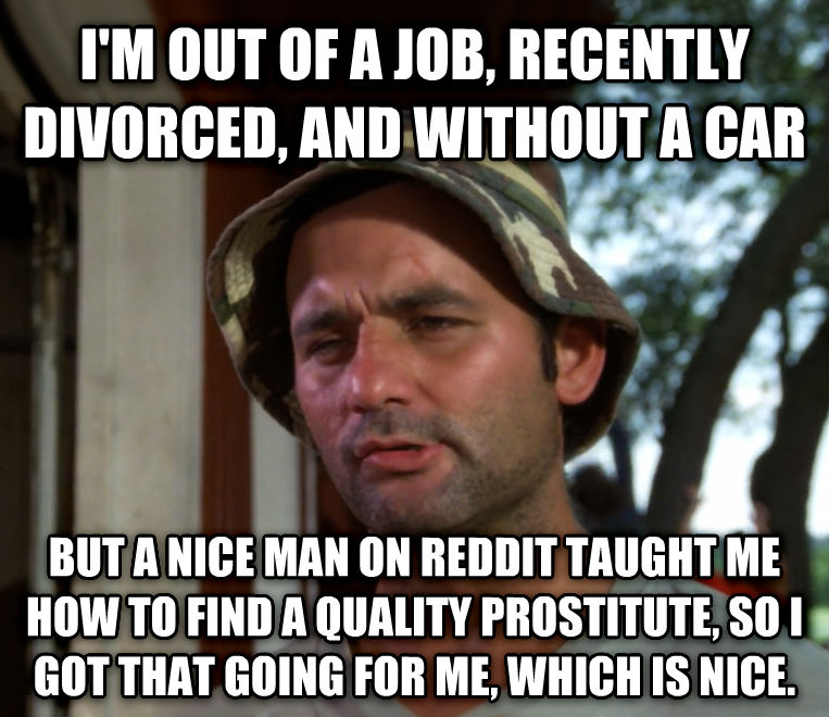 Bill Murray - So I Got That Going For Me, Which is Nice i m out of a job, recently divorced, and without a car but a nice man on reddit taught me how to find a quality substitute, so i got that going for me, which is nice. , made with livememe meme creator