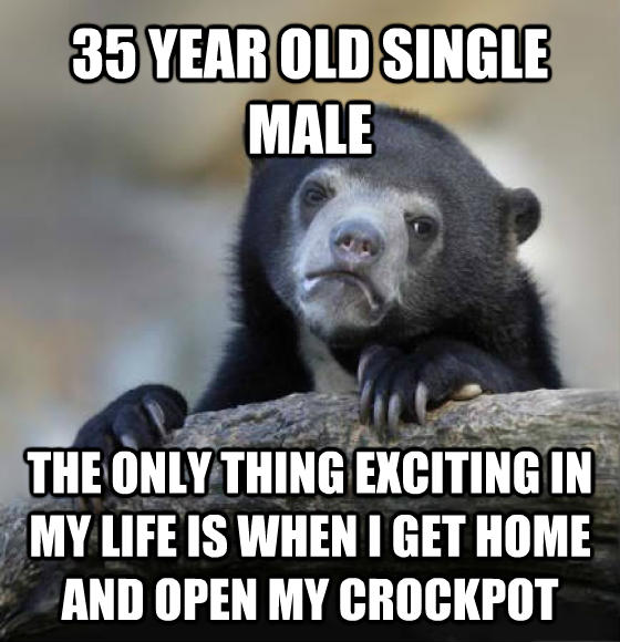 Confession Bear 35 year old single male the only thing exciting in my life is when i get home and open my crockpot , made with livememe meme creator