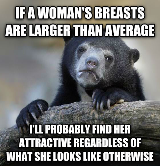 Confession Bear if a woman s beasts are larger than average i ll probably find her attractive regardless of what she looks like otherwise , made with livememe meme maker
