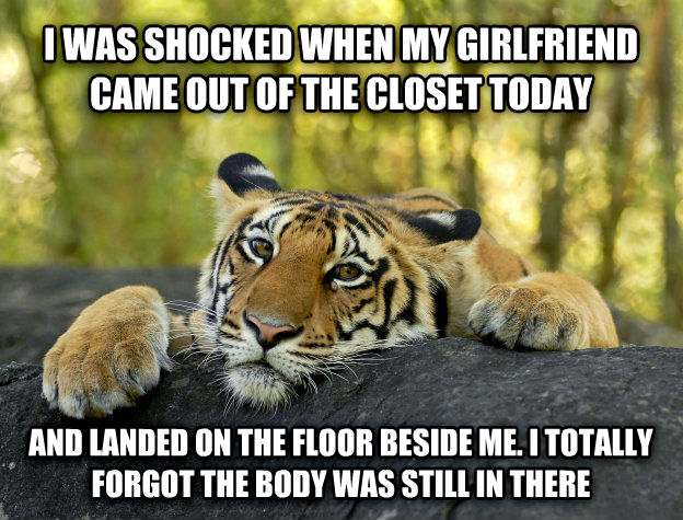 Terrible Twist Tiger i was shocked when my girlfriend came out of the closet today and landed on the floor beside me. i totally forgot the body was still in there , made with livememe meme generator